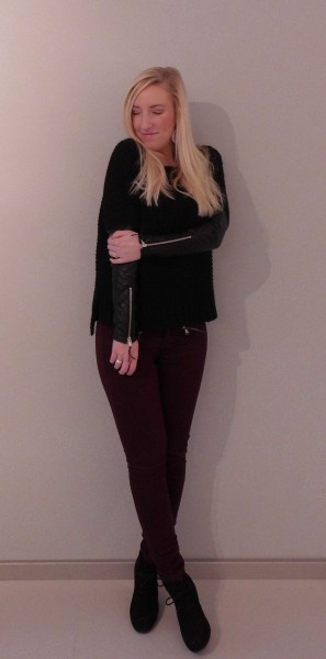 ootd-outfit-sweater-pull-bear-leather-sleeves-leren-mouw-bordeaux-broek-stradivarius-schoenen-forever-21-1