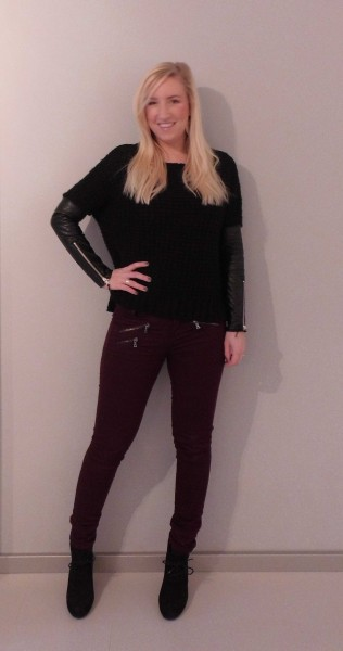 ootd-outfit-sweater-pull-bear-leather-sleeves-leren-mouw-bordeaux-broek-stradivarius-schoenen-forever-21-2