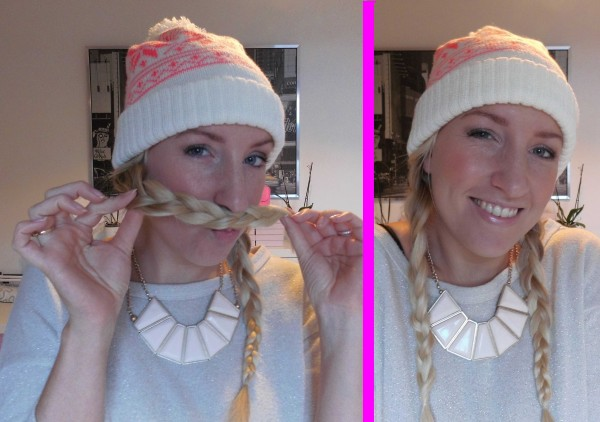 simpele-snelle-haarstijl-haar-in-vlechten-met-muts-hat 2