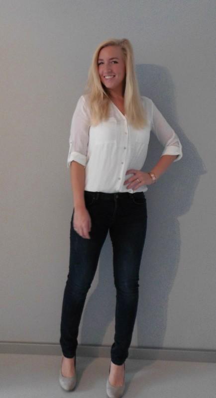 OOTD outfit work classic white witte blous H&M jeans bershka pumps van haren 1