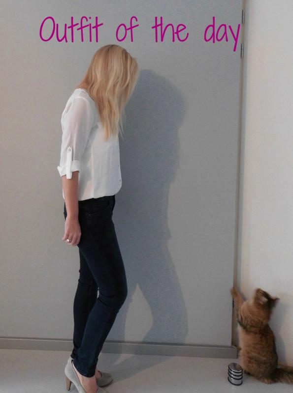 OOTD outfit work classic white witte blous H&M jeans bershka pumps van haren 2