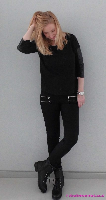 OOTD-outfit-of-the-day-boots-zwart-black-stoer-casual-stradivarius-forever21-look-style-2